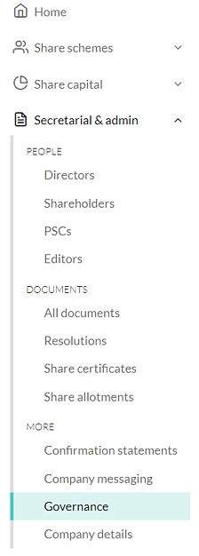 Company governance settings 1