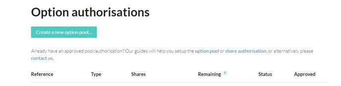 How do I authorise an EMI option pool 2