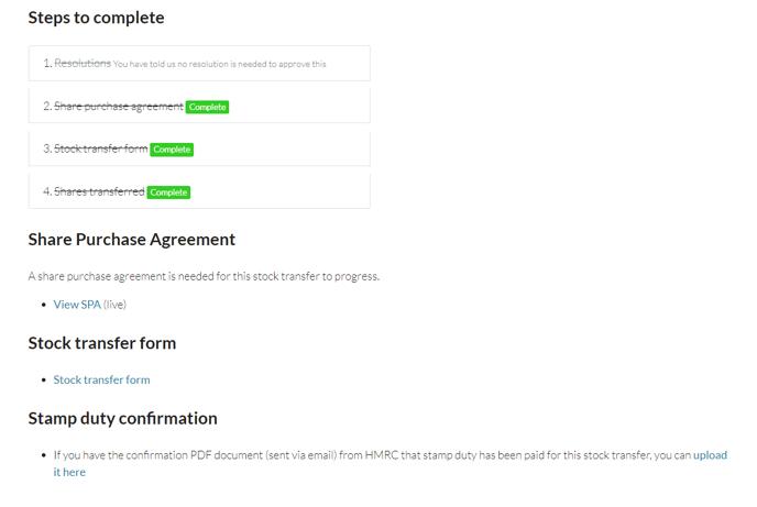 Stock transfer FAQ end process